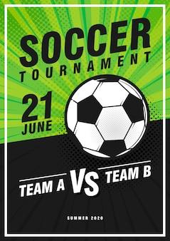 Design di poster sportivi pop art retrò torneo di calcio.