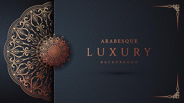 Design di sfondo mandala ornamentale di lusso con arabeschi dorati e cornice angolare floreale in stile arabo islamico orientale