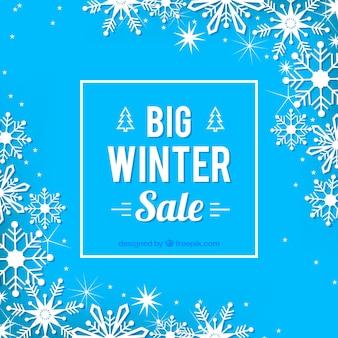 Design di vendita invernale con cristalli di ghiaccio