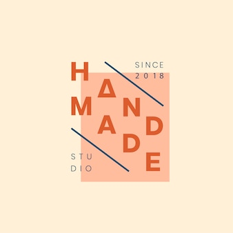 Design distintivo del logo di artigianato fatto a mano