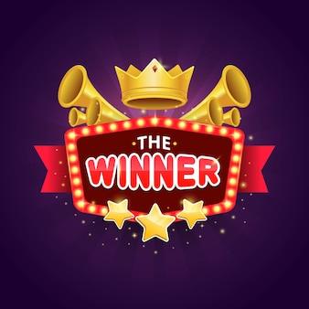 Design distintivo del vincitore del gioco con corona lucida e premio stella