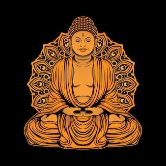 Design dorato della statua di buddha