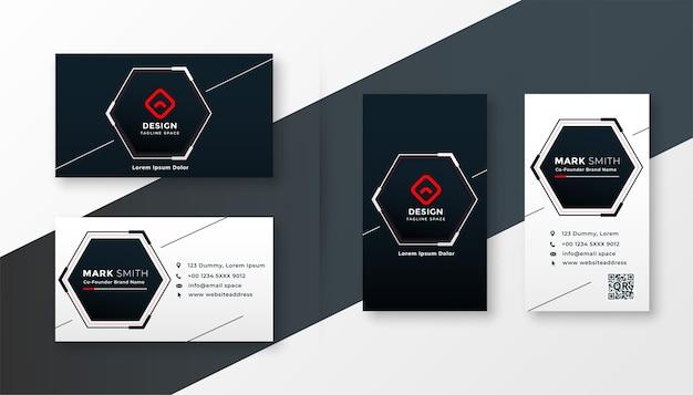 Design elegante biglietto da visita moderno di forma esagonale