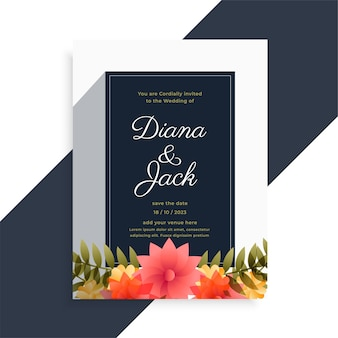 Design elegante carta decorativa fiore invito matrimonio