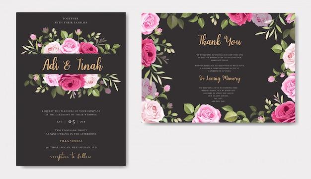 Design elegante carta di nozze con bellissimo modello di corona di rose
