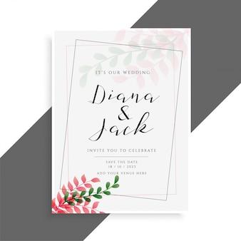 Design elegante carta di nozze con foglie carini