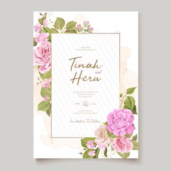 Design elegante carta di nozze floreale