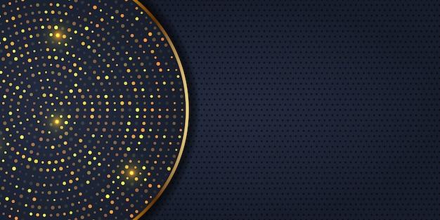 Design elegante del banner con puntini dorati