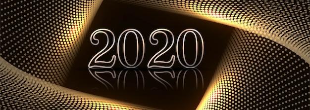 Design elegante del modello della bandiera di celebrazione di nuovo anno 2020