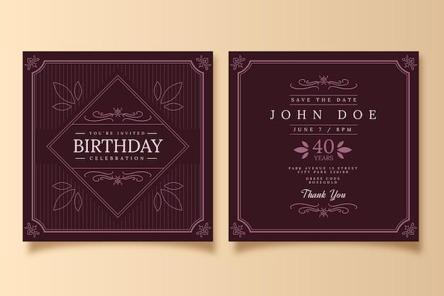 Design elegante dell'invito di compleanno