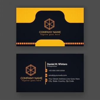 Design elegante di biglietto da visita in colore giallo e nero con presentazioni anteriori e posteriori.