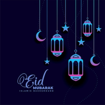 Design elegante di saluto di eid mubarak scuro elegante