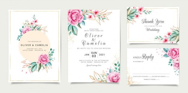 Design elegante modello di carta di invito matrimonio con rose e foglie glitterate delineate