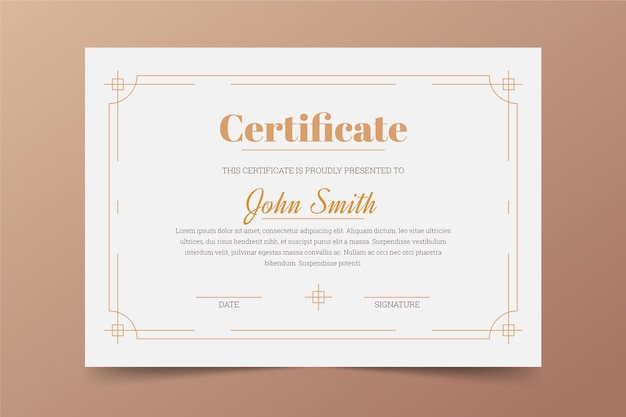 Design elegante modello di certificato