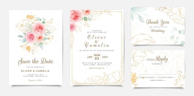 Design elegante modello di invito di nozze di fiori rosa pesca e foglie d'oro