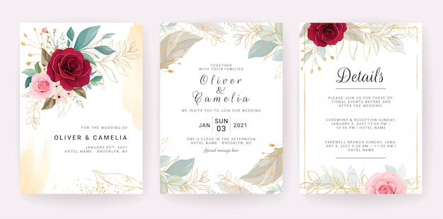 Design elegante modello di invito di nozze di fiori rossi e rosa pesca e foglie d'oro