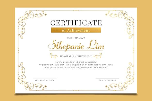Design elegante modello di riconoscimento certificato