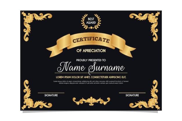 Design elegante per modello di certificato
