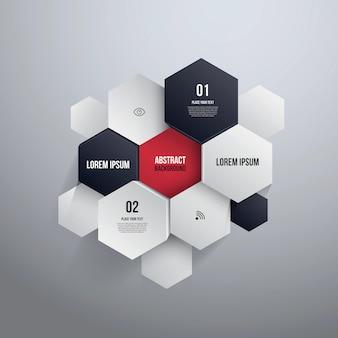 Design esagonale. può essere utilizzato per infografica o layout del sito web