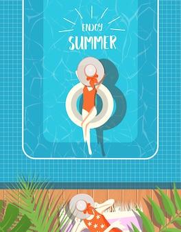 Design estivo con sfondo piscina