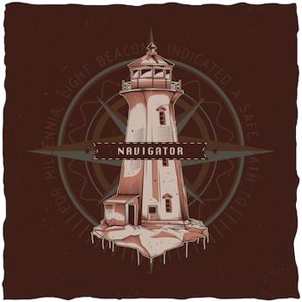 Design etichetta t-shirt nautica con illustrazione del vecchio faro. illustrazione disegnata a mano.