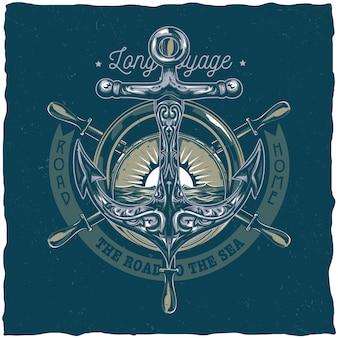 Design etichetta t-shirt nautica con illustrazione di ancoraggio.