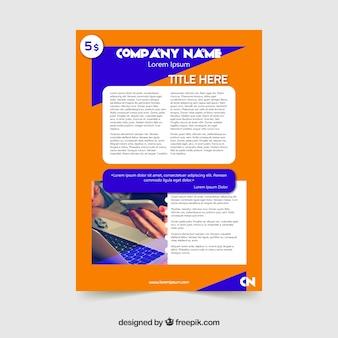 Design flyer arancione e blu