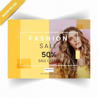 Design flyer orizzontale di vendita di moda