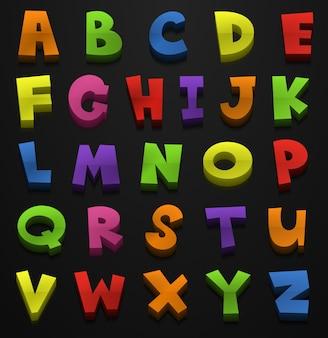 Design font per alfabeti inglese in molti colori