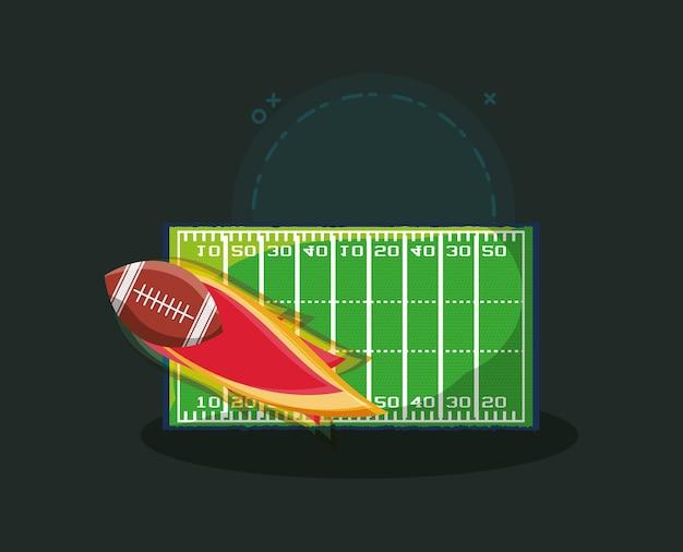 Design football americano con campo e palla in fiamme