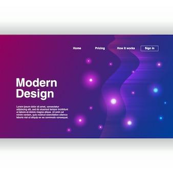 Design futuristico della pagina di destinazione con astratto geometrico
