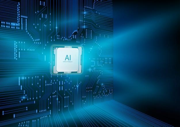 Design futuristico di un chip di intelligenza artificiale con circuito stampato.