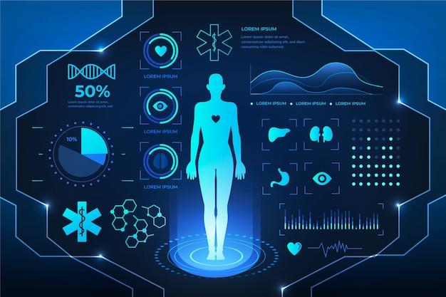 Design futuristico infografica medica