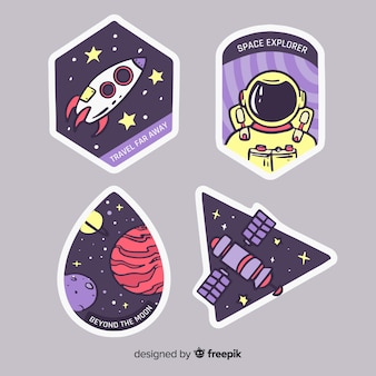 Design galaxy con collezione di adesivi