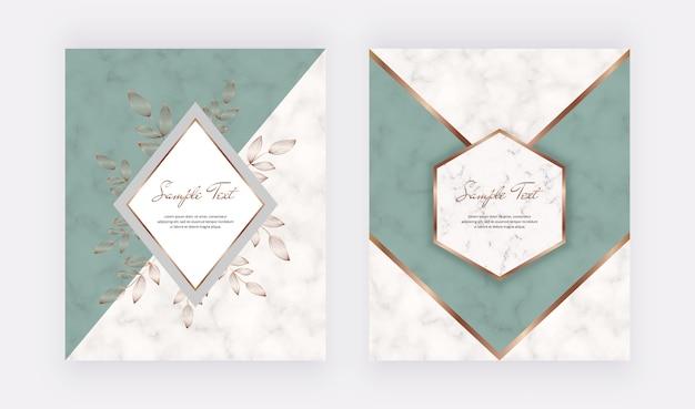 Design geometrico della copertina con forme triangolari verdi e cornici di foglie dorate sulla trama di marmo