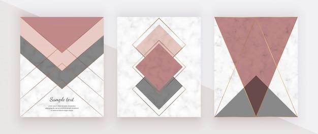 Design geometrico in marmo con linee triangolari dorate rosa e grigie, poligonali.