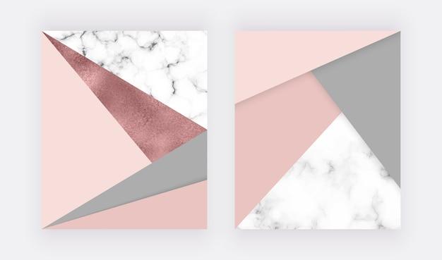 Design geometrico in marmo con trama triangolare rosa e grigia, foglia oro rosa.