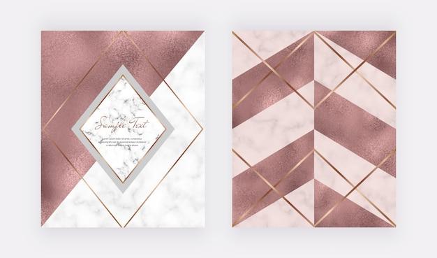 Design geometrico in marmo con trama triangolare rosa, foglia oro rosa, linee poligonali.