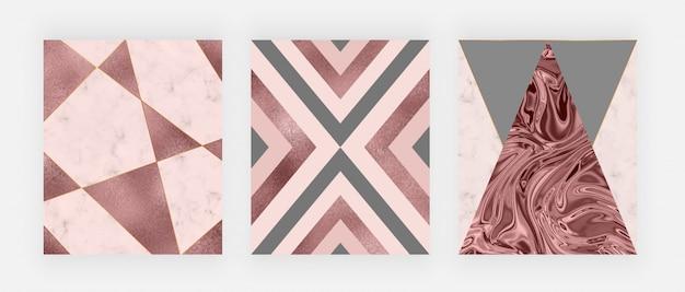 Design geometrico in marmo con triangoli rosa e grigi, trama foglia oro rosa, linee poligonali.