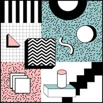 Design giocoso di memphis style geometric background