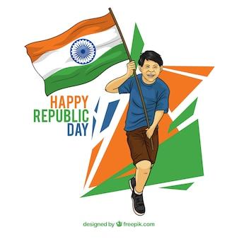 Design giorno repubblica indiana con uomo corrente