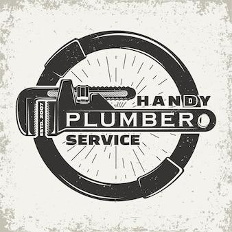 Design grafico logo vintage, timbro stampato, emblema tipografia idraulico, design creativo