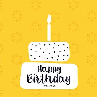 Design happy bithday card con forma di torta bianca piatta