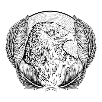 Design illustrazione disegnata a mano in bianco e nero aquila in cerchio con pignone premium