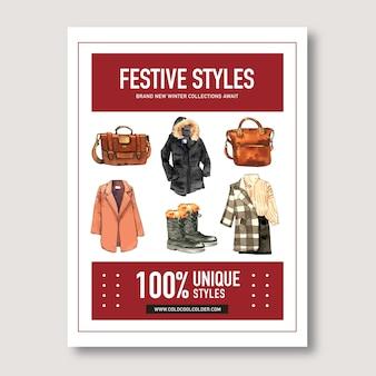 Design in stile invernale con stivali, borsa, cappotto, camicia illustrazione ad acquerello