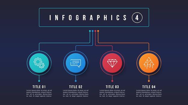 Design infografico a 4 opzioni, diagramma struttura, presentati