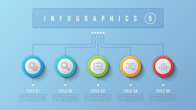 Design infografico a 5 opzioni, diagramma struttura, presentati