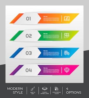 Design infografico con 4 gradini e stile moderno.