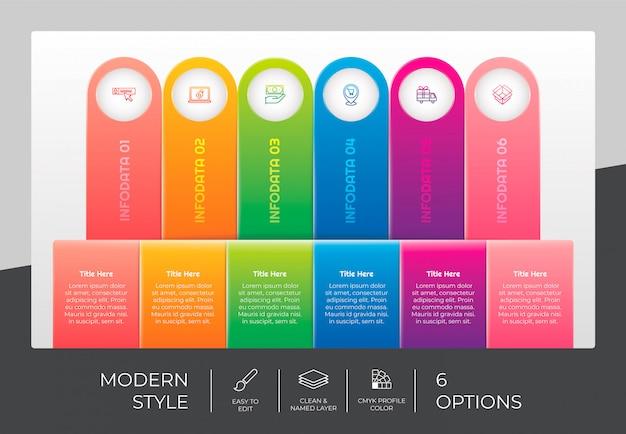 Design infografico quadrato a flusso di lavoro con 6 opzioni e design moderno. l'opzione infografica può essere utilizzata per presentazioni, relazioni annuali e scopi commerciali.