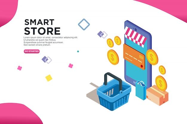 Design isometrico del negozio intelligente